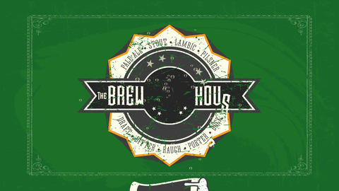 the ale residence bistro design with retro image and brew types written with celtic offset over Animation
