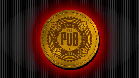 golden retro beer pub design made with aged look wrinkled leather round embroidered towards an fancy Animation