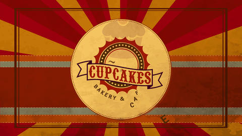 bakehouse cafe image design with aged make cake image over antique round illustration and reddish Animation
