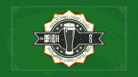 the brew house pub design with retro illustration and beer types written with celtic typography over Animation