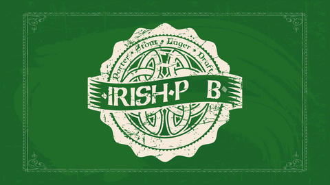 irish pub vintage concept art with celtic mandala on center of wavy rounded layered graphic and text Animation