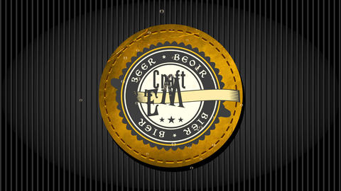 craft brew brewery design with old-fashioned celtic styled offset written on rounded leather imprint Animation