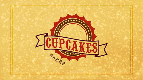 used napkin with and dirty retro vintage stamp in the middle of a cupcakes bakery Animation