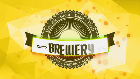 brewery mane concept art designed with circular zig zag layer with beer types written around and hop Animation