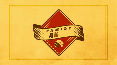 family bakery vintage design using old fashion triangular graphic with small croissant decoration Animation