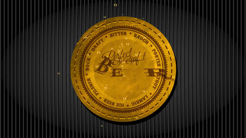 distillery yellow leather embroidered round design with types of craftsmanship brew written with Animation