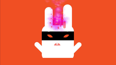 comical white evil square rabbit wear a black ninja hide over its annoyed orange pupil Animation