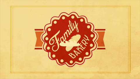family bakery products design with a 50s look and vintage styled round graphic with retro typography Animation