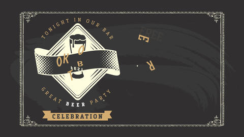 antique oktoberfest party announcement design offering music fun and free beer on black upright Animation