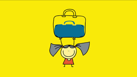 doodle of a powerful young girl lifting a huge luggage over her head suggesting strength or heavy Animation
