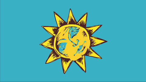 vintage sun doodle with calm face drawn with pencil lines like sketch painted with yellow and green Animation