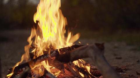 Fireplace burning. Warm cozy burning fire in a brick fireplace close up. Cozy Live Action