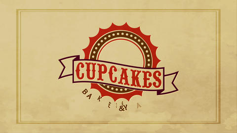 worn napkin with and dirty retro old-fashioned letterpress in the central of a cupcakes cookery Animation