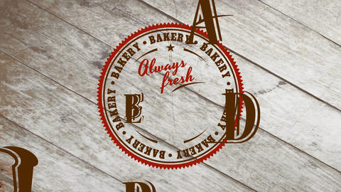 stain style bakery store design with words forever fresh loaf written in classic typography interior Animation
