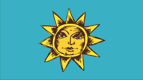 classical sun doodle with peace face drawn with pencil lines like draw multicoloured with yellow and Animation