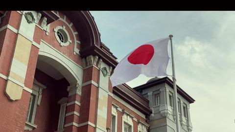 Tokyo, Japan: National flag of Japan is fluttering Live Action