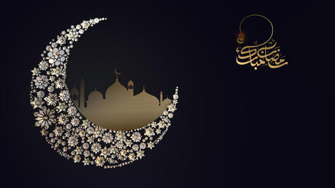 Abstract Golden Ramadan Mubarak Symbol Moon Mosque Animation