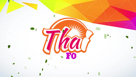 thai food design with modern and fun typography with sunny graphic decoration and an abstract arc Animation