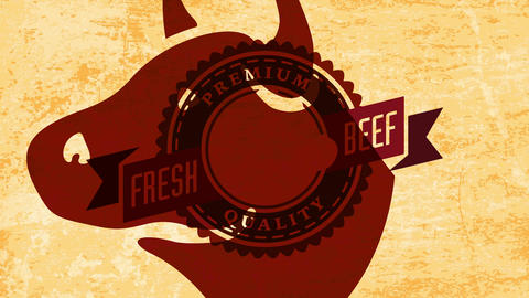 premium quality fresh beef butchery design with wheel illustration and imposing bull with pointy Animation