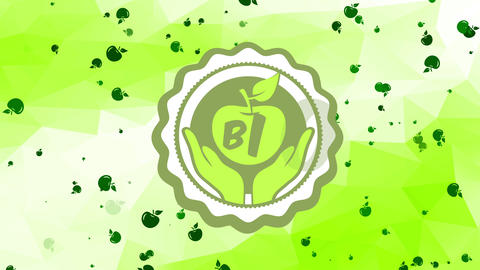 mini bio organic green nourishment design with hands gripping an apple in curly round illustration Animation