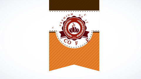 premium value coffee with warm vine inside curly oval visual sealed on a lined texture background Animation