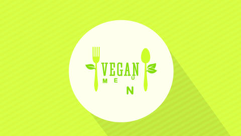 vegetarian and vegan food restaurant design with eco friendly cutlery graphics on white circle Animation