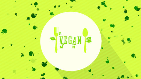 vegetable and vegan nutrient bistro design with eco kind cutlery graphical on white disk floating on Animation