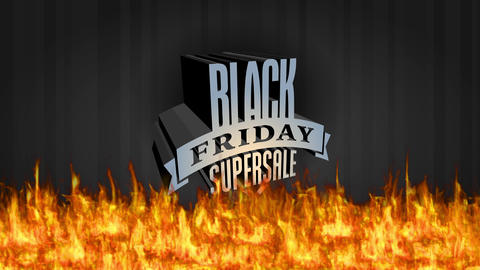 black friday super sale design with a 3d steel figure in the form of long wester lettering floating Animation