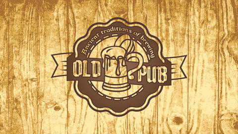 ancient brewing tradition pub design with old fashioned celtic styled typography on round graphic Animation