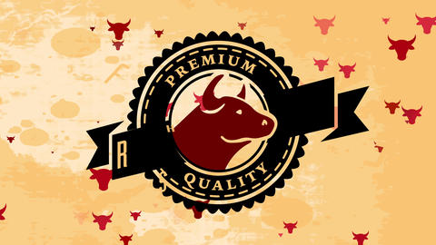 butchery design with bovine head and words premium value cattle written with retro offset above a Animation