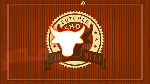 ranch meat butcher shop design with trimmed cardboard illustration with male head in circular Animation