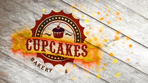 bakery and cafe restaurant design with appetizing cupcake illustration inside old fashion round Animation