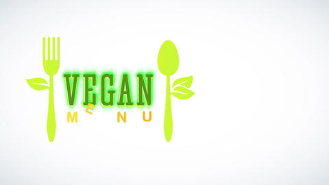vegan foodstuff design with green eco kind recycled teaspoon and fork with leafs growing aside like Animation