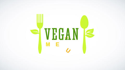 vegan cuisine design with green eco friendly recycled spoon and fork with leafs growing aside like Animation