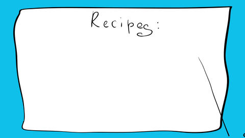 recipe paper sheet design with happy baby boy cartoon doodle wearing apron and chef hat over blue Animation