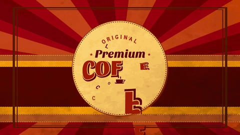 original premium coffee pile design written with retro old-fashioned offset and tiny warm teacup in Animation
