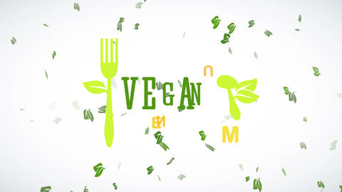 vegan cuisine design with green eco friendly recycled spoon and fork with leafs increasing aside Animation