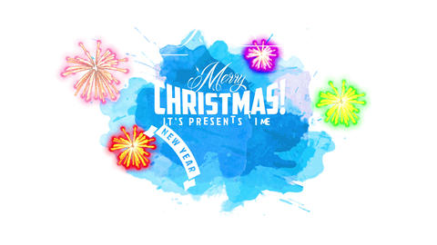 laughing merry christmas and laughing new year design with text written with many white script over Animation