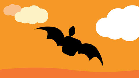 funny animation of black bat floating and bouncing in pieces to the center with ugly face and long Animation