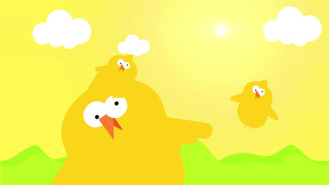 animation design of yellow chicken with funny crazy face and one of them surrounded by hearts fading Animation