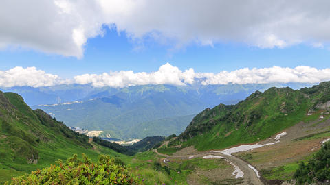 Valley Rosa Khutor. Zoom. Time Lapse. Sochi, Russia Footage