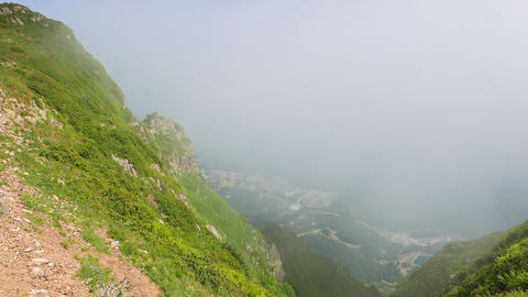 Valley Rosa Khutor, the view from the clouds, Sochi, Russia Footage