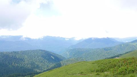 Mountains in the clouds. Ridge Aibga. Sochi, Russia Footage