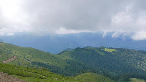 Mountains covered with forest. Ridge Aibga. Sochi, Russia Footage