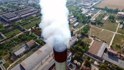 Thermal power station HD aerial video. Flue-gas stack tower cooling towers Footage