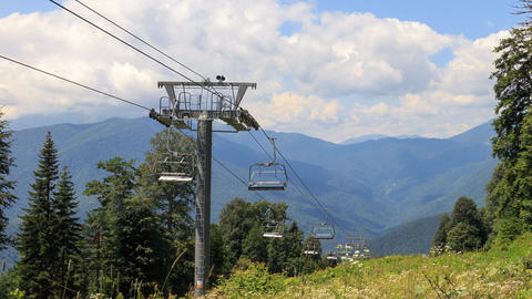 Chairlift in the summer. Time Lapse. Plateau Laura, Sochi, Russia Footage