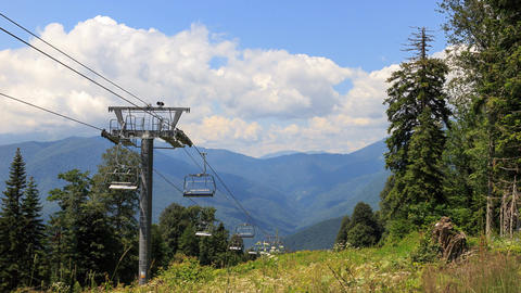 Cable lift in the summer. TimeLapse. Plateau Laura, Sochi, Russia Footage