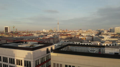 AERIAL: Low over Berlin Central, Mitte with view on Alexanderplatz TV Tower on Live Action