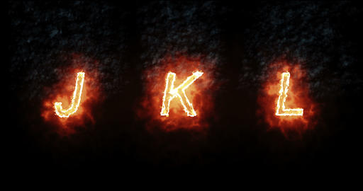 burning font j, k, l, fire word text with flame and smoke on black background, concept of fire heat Live Action