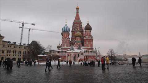 Red Square at Kremlin with people and landmark of Saint Basil s Cathedral Live Action